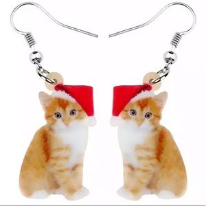 BOGO! Christmas Tabby Kitten Earrings Santa Cute